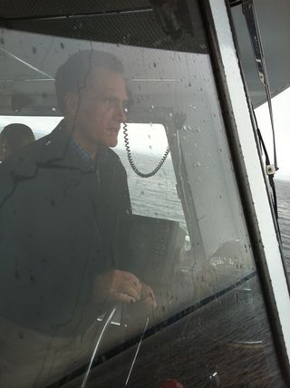 Romney on a boat